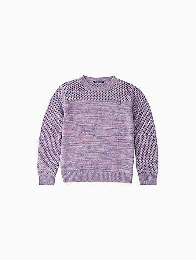 Intricate and finely detailed with multi gauge knits, this CALVIN KLEIN JEANS chic pullover girl\\\'s sweater is made with colorful heathered fabric and a cozy feel. Designed with a ribbed crewneck, a compact embroidered CK logo patch, a honeycomb knit across the yoke and sleeves with ribbed knit trim for a snug fit.