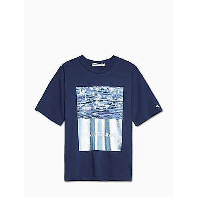 Girls Oversized Ocean Photo Print T-Shirt