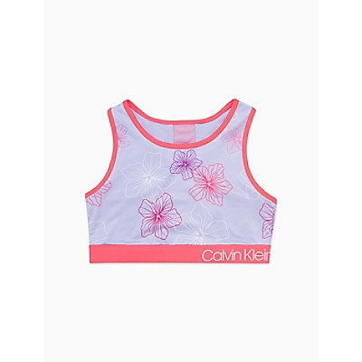 Girls Performance Floral Sports Top
