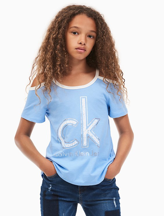 0388fbda0bfaf girls logo cold-shoulder t-shirt