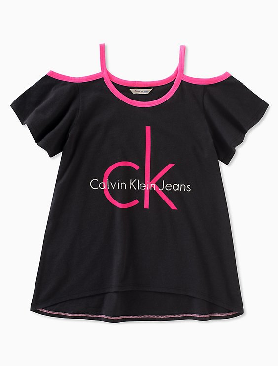 f151d4fb61cd2 girls logo cold shoulder t-shirt