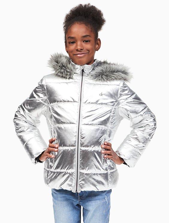 5a84f4a7e girls metallic puffer jacket | Calvin Klein