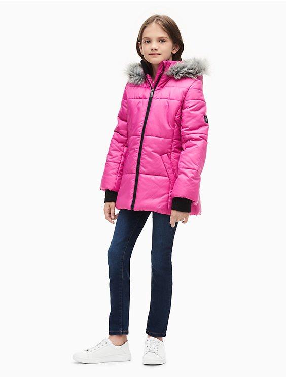 a045c7548bd Girls Logo Sport Hooded Puffer Jacket | Calvin Klein