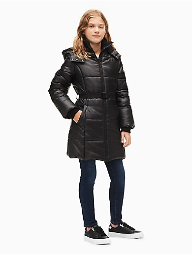 5893bec4cc79 girls logo belted puffer jacket