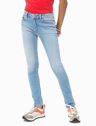 60d6a3225686 Girls Skinny Fit High Rise Light Blue Jeans
