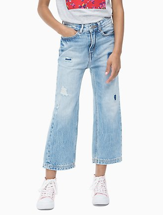 2ec41ee1e755 Girls Straight Fit High Rise Cropped Jeans