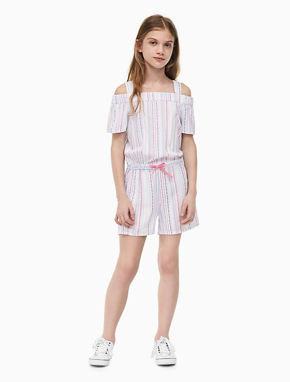 7f0fae5e481c girls striped cold shoulder romper