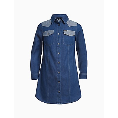 Big Girls Western Colorblock Denim Shirt Dress