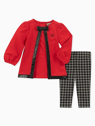 dec4a33f4f75 girls 2-piece bowtie tunic + houndstooth leggings set