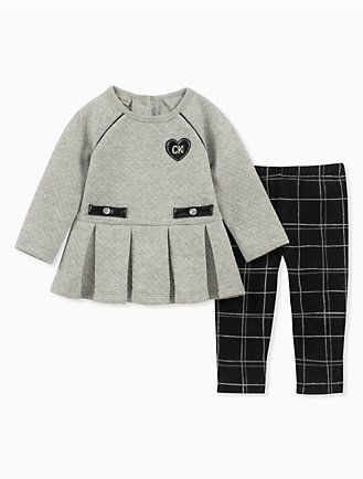 652f66e479b4 girls 2-piece peplum tunic + windowpane leggings set