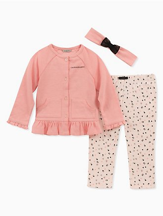 dbe8b4d2bc097c baby girls 3-piece cardigan + geometric pants set