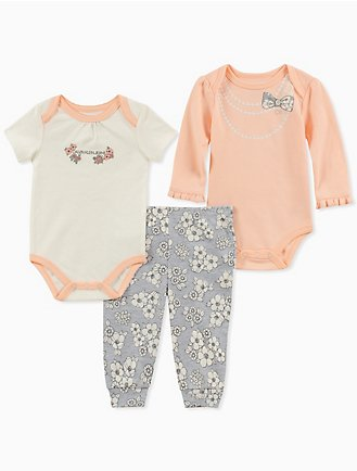d35478547033 baby girls 3-piece floral bodysuit + pants set
