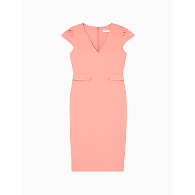 V-Neck Cap Sleeve Tab Waist Sheath Dress