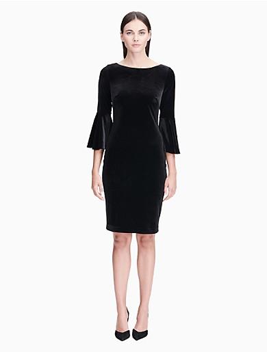 60fcebb2ad6 velvet bell sleeve sheath dress
